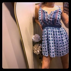 Adjustable strap summer print mini mid thigh dress